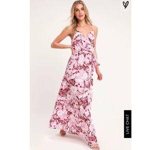 Lulus Pink Tropical Print Maxi Dress